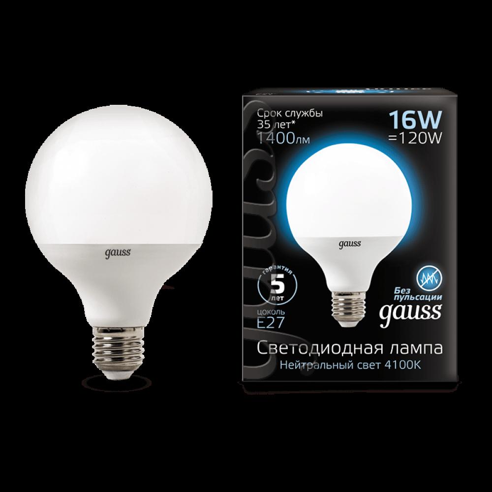 Gauss LED Լամպ G95 E27 16W 1400lm 4100K 1/32